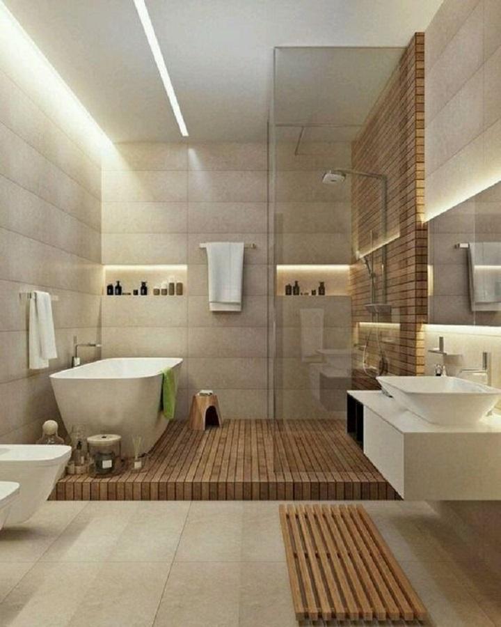 banheiro grande decorado em cores neutras Foto Pinterest
