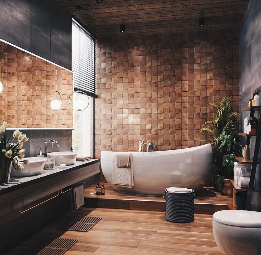 banheiro grande moderno decorado com revestimento amadeirado e cuba redonda  Foto UltraLinx