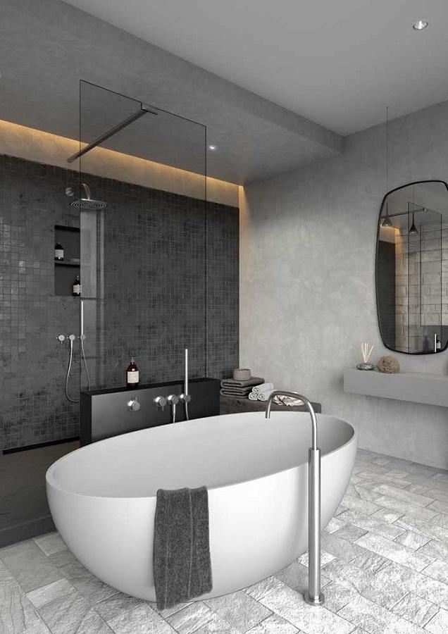 banheiro grande moderno decorado com revestimento cinza quadriculado Foto Home Fashion Trend