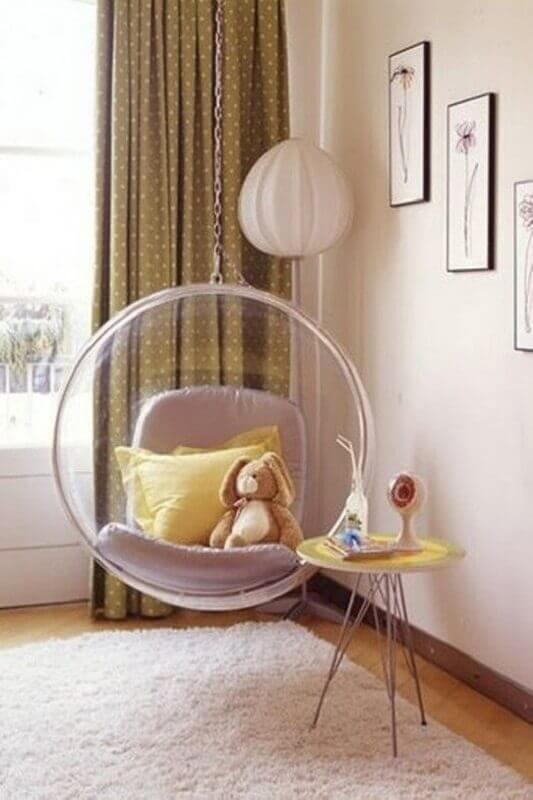 cadeira de balanço moderna suspensa para decoração de quarto infantil  Foto Pinterest