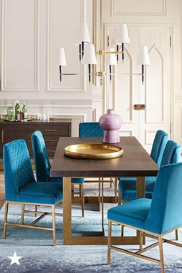 cadeira estofada azu para decoração de sala de jantar sofisticada Foto Macy's