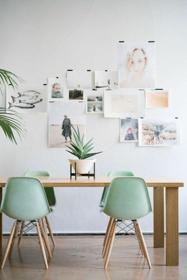 cadeira verde menta para decoração de sala de jantar simples Foto Pinterest