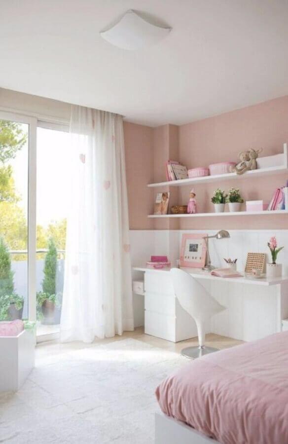 cor rosa chá e branco para decoração de quarto feminino Foto Boca do Lobo