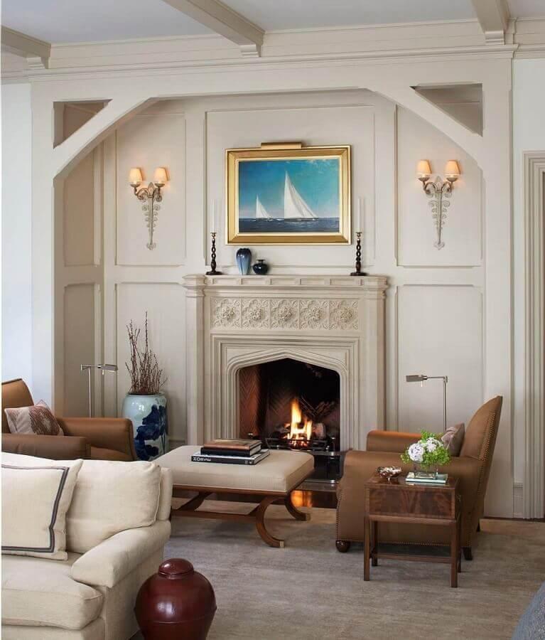 decoração clássica para sala de estar com lareira Foto Home Fashion Trend