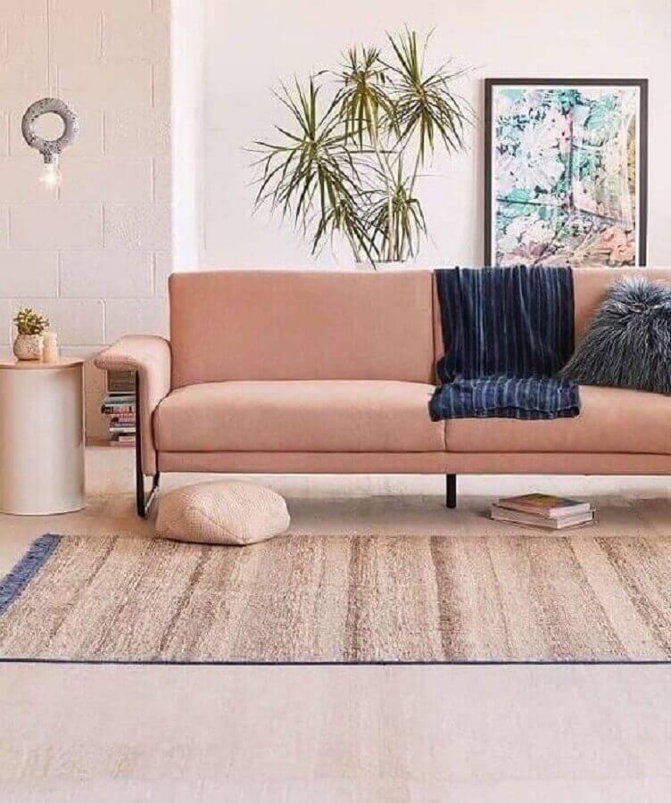 decoração clean para sala com sofá rosa chá Foto Cut & Paste