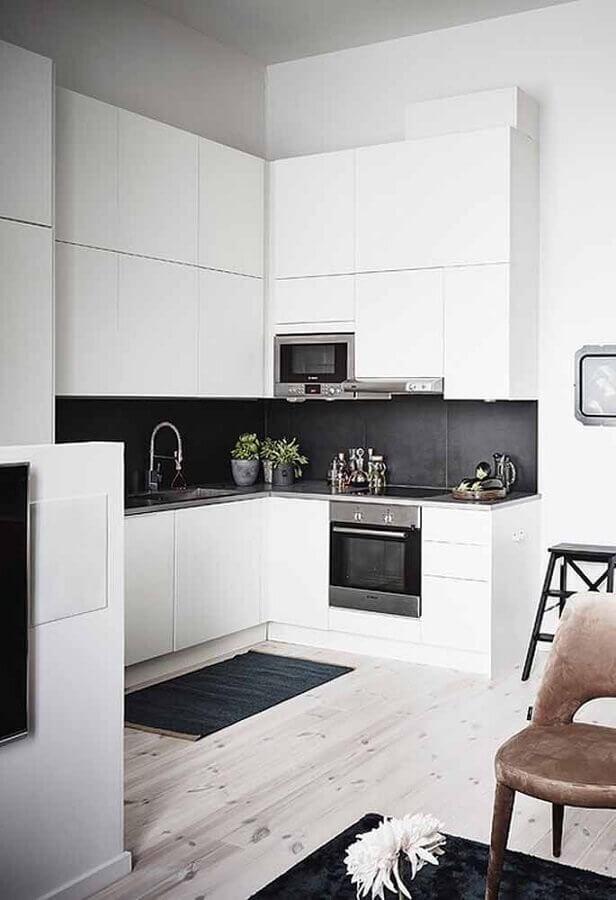 decoração com armário planejado para cozinha branca de canto Foto Home Fashion Trend