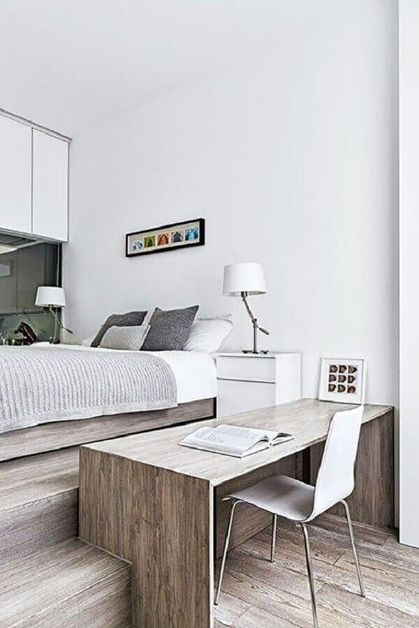 decoração de quarto com escritório minimalista Foto Pinterest