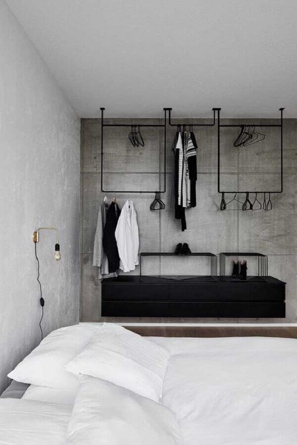 decoração de quarto industrial com móveis pretos Foto Pinterest