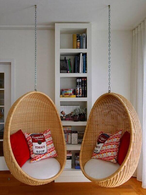 Decoração de sala com cadeira suspensa de balanço Foto Pinterest