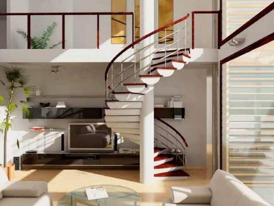 decoração de sala com escada espiral branca com degraus de madeira  Foto Pinterest