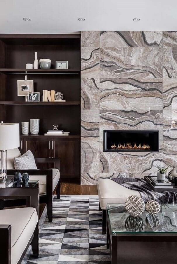 decoração de sala com lareira sofisticada Foto Houzz