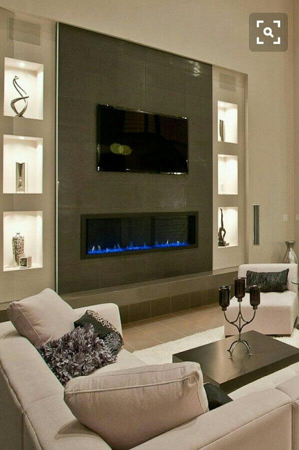 decoração de sala de estar com lareira elétrica moderna Foto Pinterest