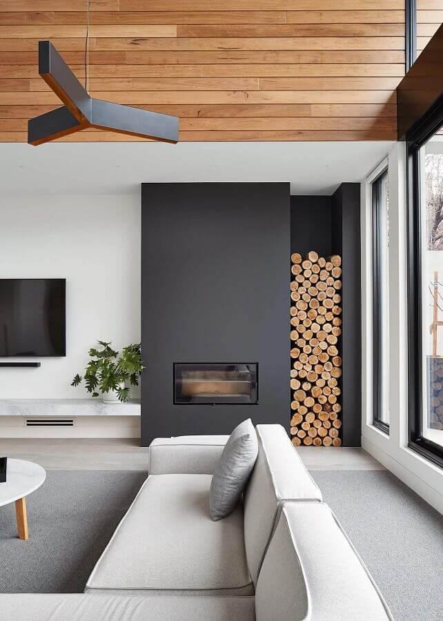 decoração em tons de cinza para sala de estar com lareira moderna Foto Pinterest