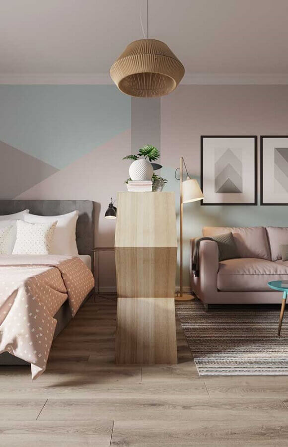 decoração em tons pastéis com abajur de pé para sala Foto Apartment Therapy