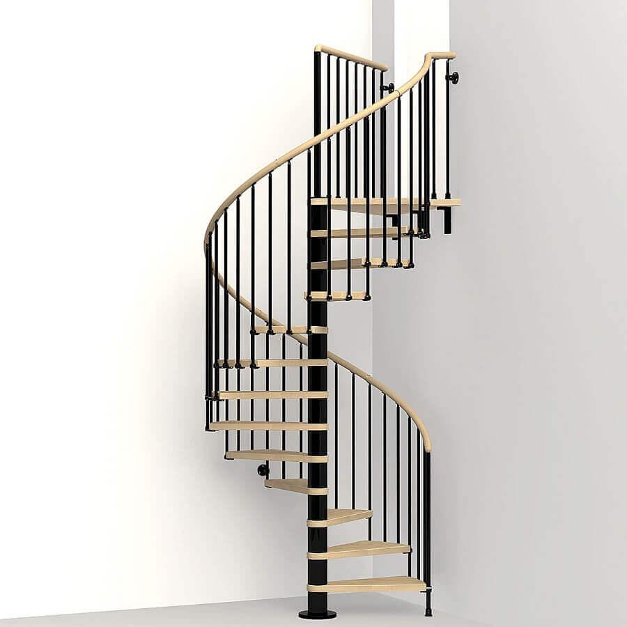 decoração minimalista com escada espiral de ferro e madeira clara Foto Archzine