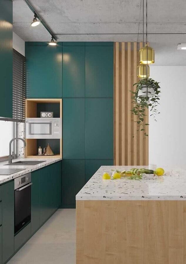 decoração moderna com armário planejado para cozinha verde com madeira Foto Home Fashion Trend