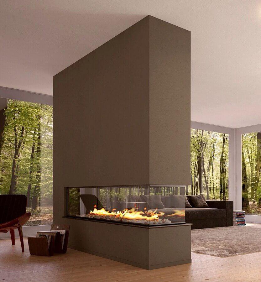 decoração moderna para sala de estar com lareira grande  Foto Pinterest