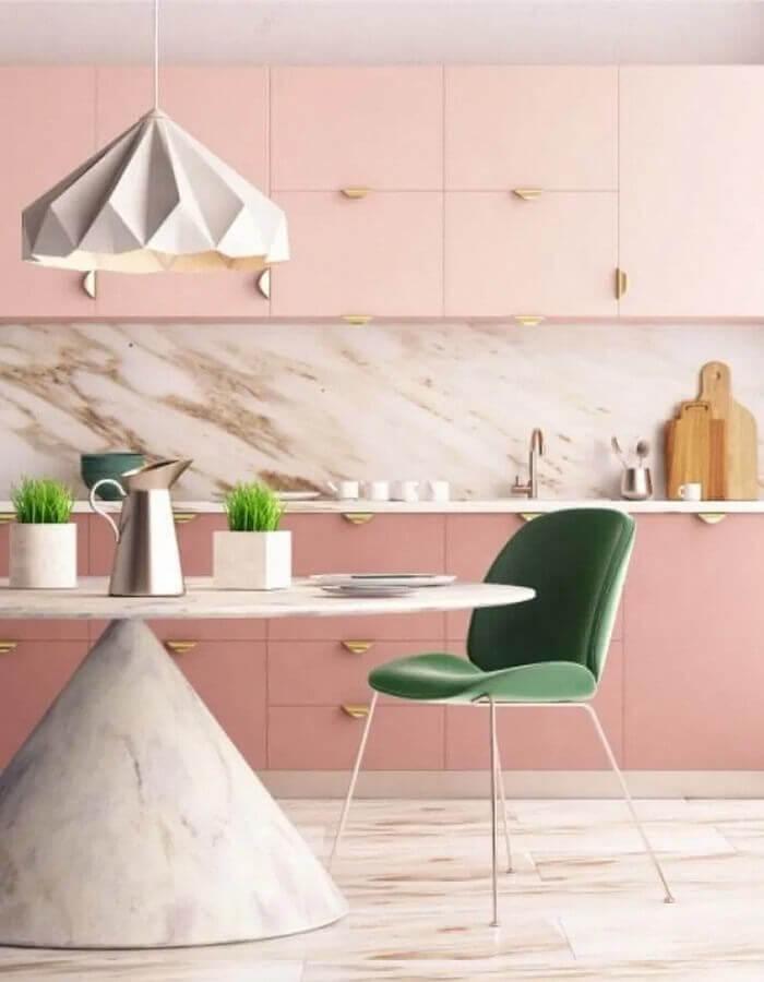 decoração rosa chá para cozinha planejada moderna Foto ViralDeco