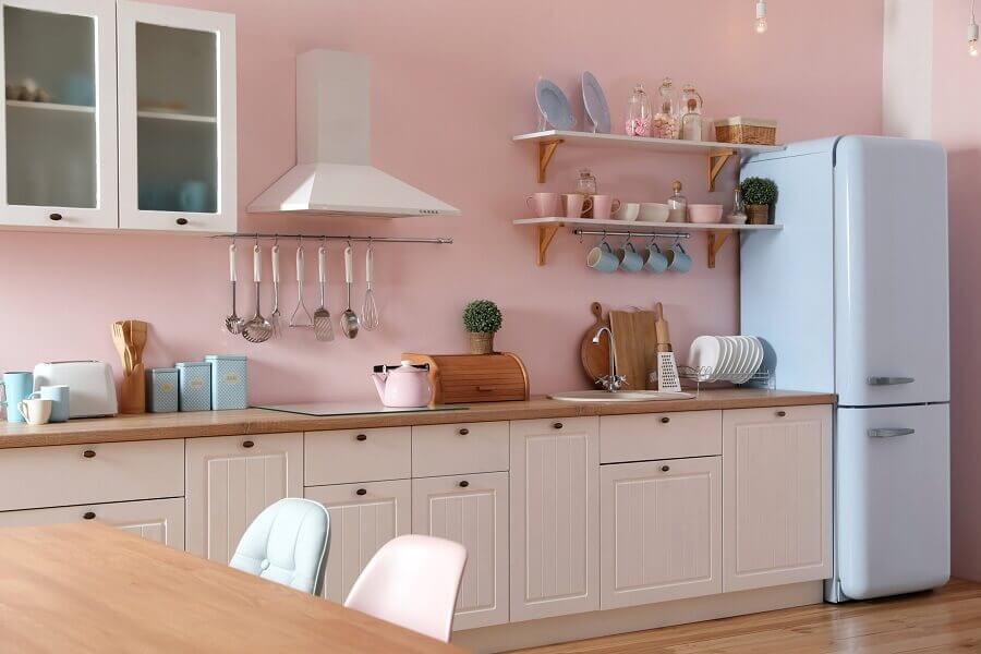 decoração rosa chá para cozinha vintage Foto Archify