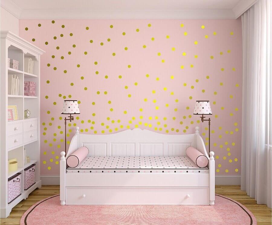 decoração rosa chá para quarto infantil simples Foto Pinterest