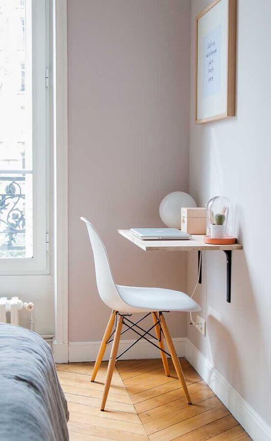 decoração simples de quarto solteiro com escritório Foto Fashion Bubbles