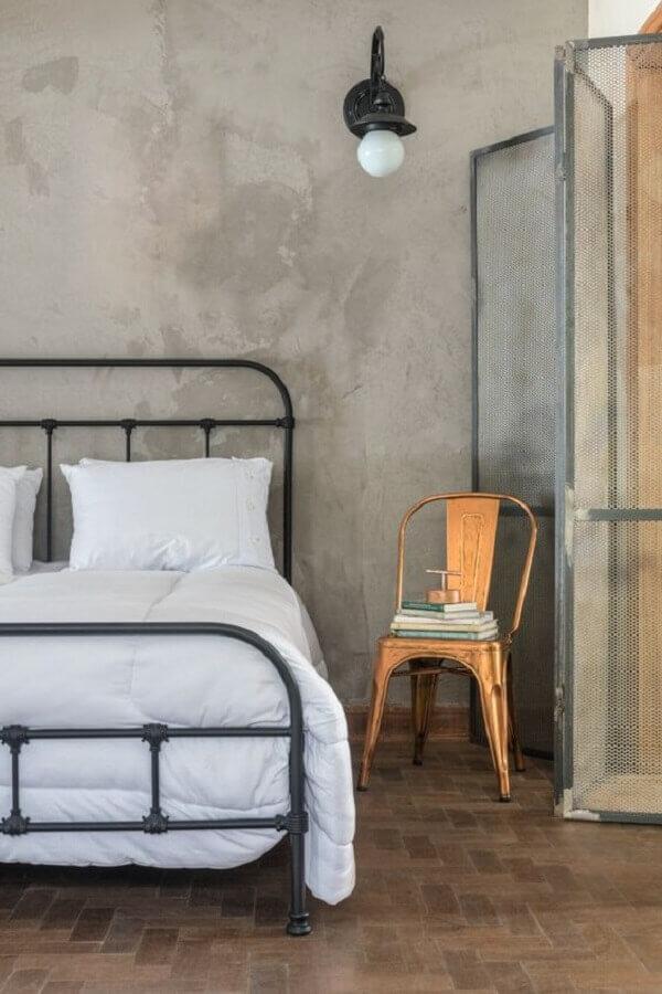 decoração simples para quarto industrial com parede de cimento queimado Foto Pinterest