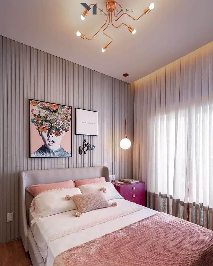 dicas de decoração para quartos femininos modernos com revestimento 3D Foto Eu Capricho