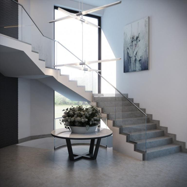 Escada com granito cinza claro