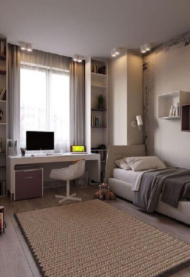 escrivaninha branca para quarto solteiro com escritório decorado em cores neutras Foto Jeito de Casa