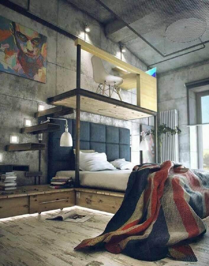 estilo industrial para quarto decorado com home office em mezanino pequeno Foto Pinterest