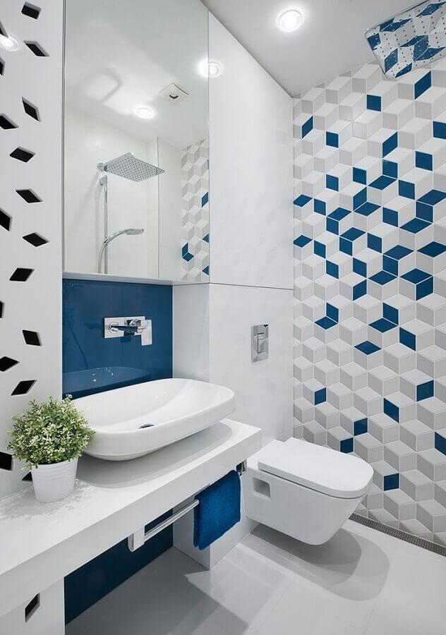 ideias de decoração para banheiro branco e azul Foto Architizer