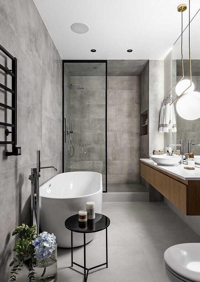 ideias de decoração para banheiro cinza moderno com gabinete de madeira suspenso Foto Futurist Architecture