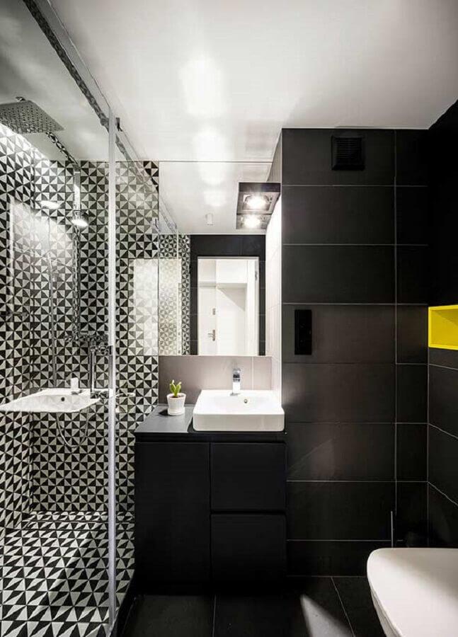 ideias de revestimento para banheiro preto e branco Foto Archidea