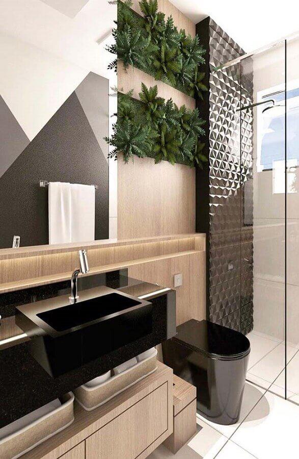 ideias para banheiro amadeirado moderno decorado com revestimento 3D preto Foto Home Fashion Trend