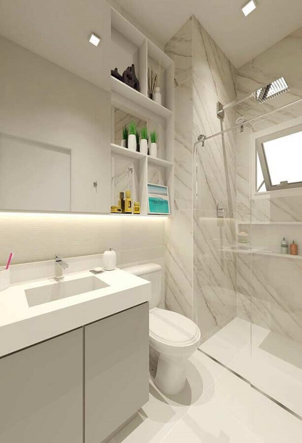 ideias para banheiro pequeno decorado em cores claras Foto Home Fashion Trend