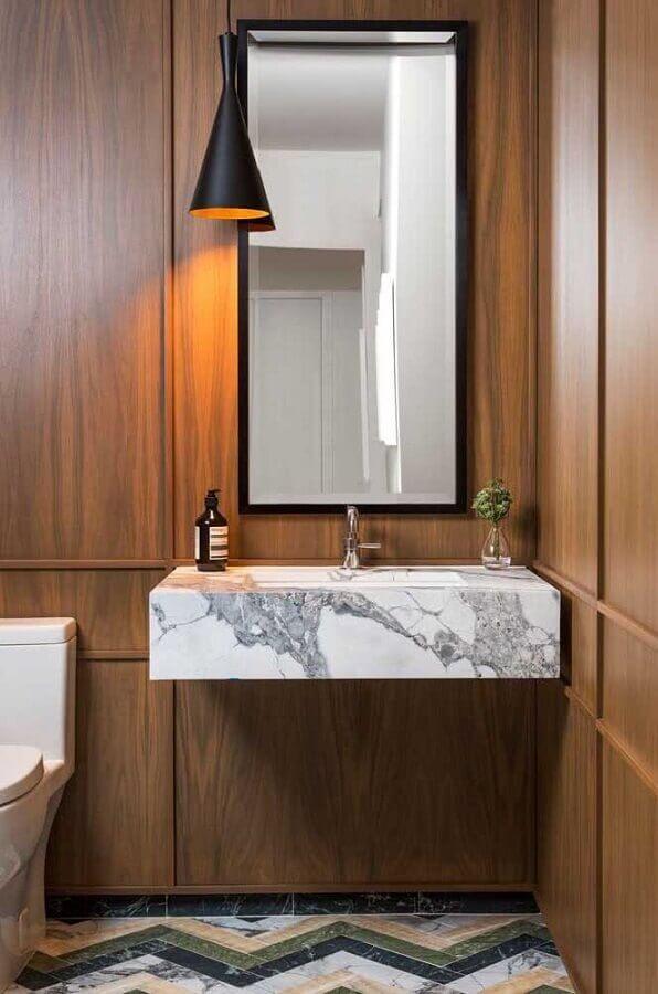 ideias para decorar banheiro amadeirado com bancada de mármore Foto Architecture Art Designs