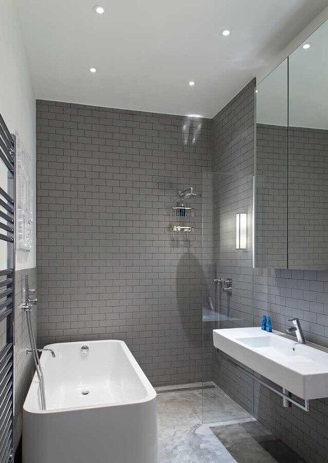 ideias para decorar banheiro cinza Foto Houzz