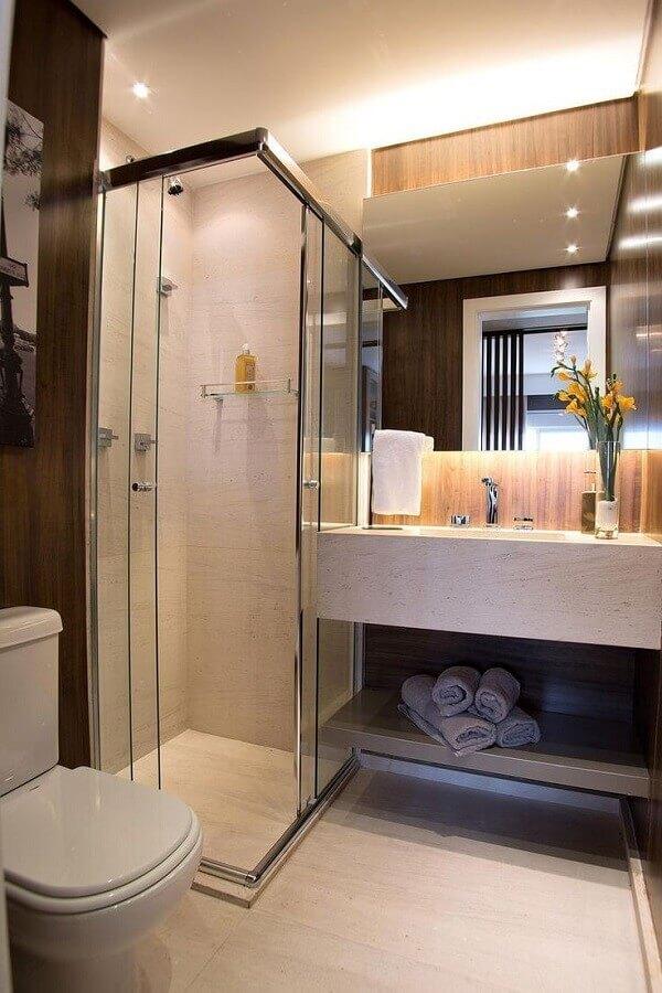 ideias para decorar banheiro pequeno em cores neutras Foto Pinterest