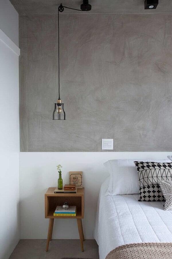 luminária pendente para decoração de quarto industrial feminino branco e cinza Foto Casa de Valentina