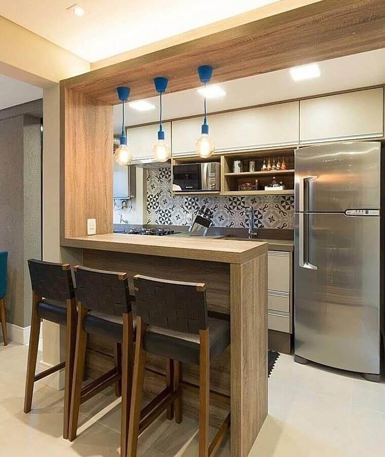 luminária simples para decoração de cozinha estilo americana pequena Foto Dicas Decor