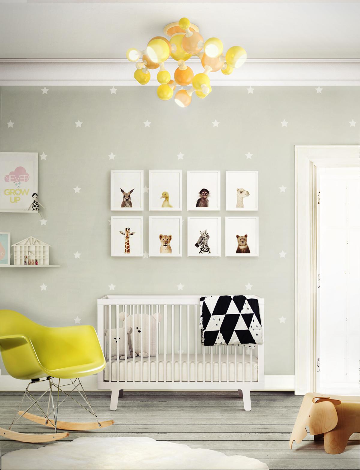 Luminária para quarto infantil amarela
