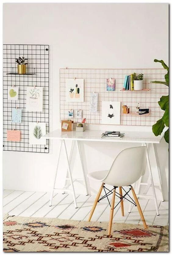 Mesa cavalete para escritório branco e minimalista