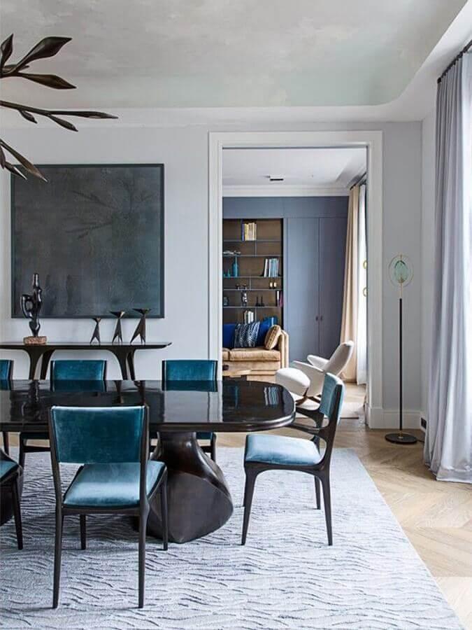 mesa com cadeiras azul para decoração de sala de jantar grande Foto Casa de Valentina