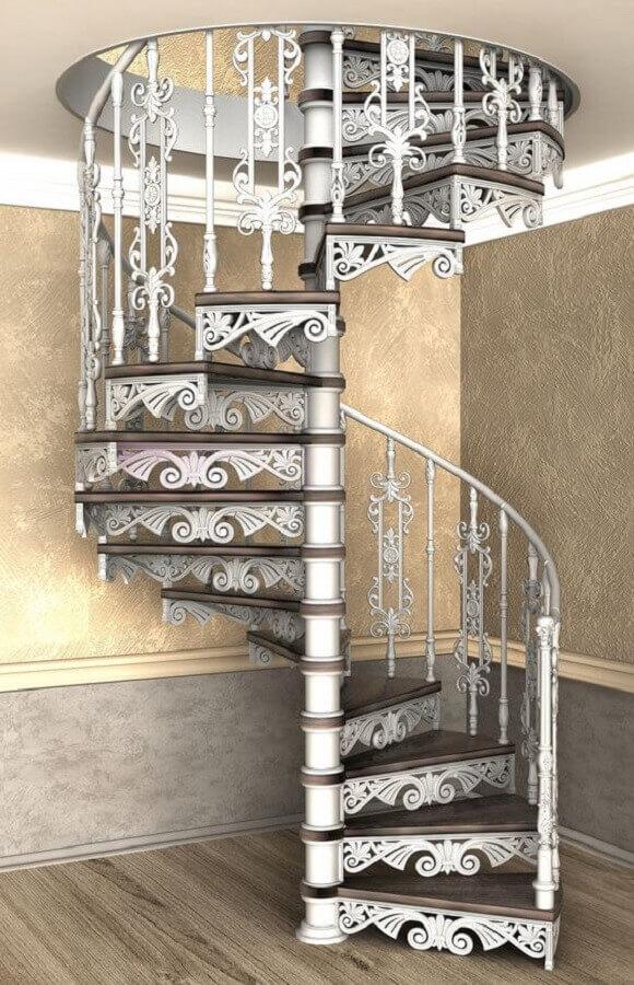 modelo clássico de escada espiral de alumínio com degraus de madeira Foto Pinterest