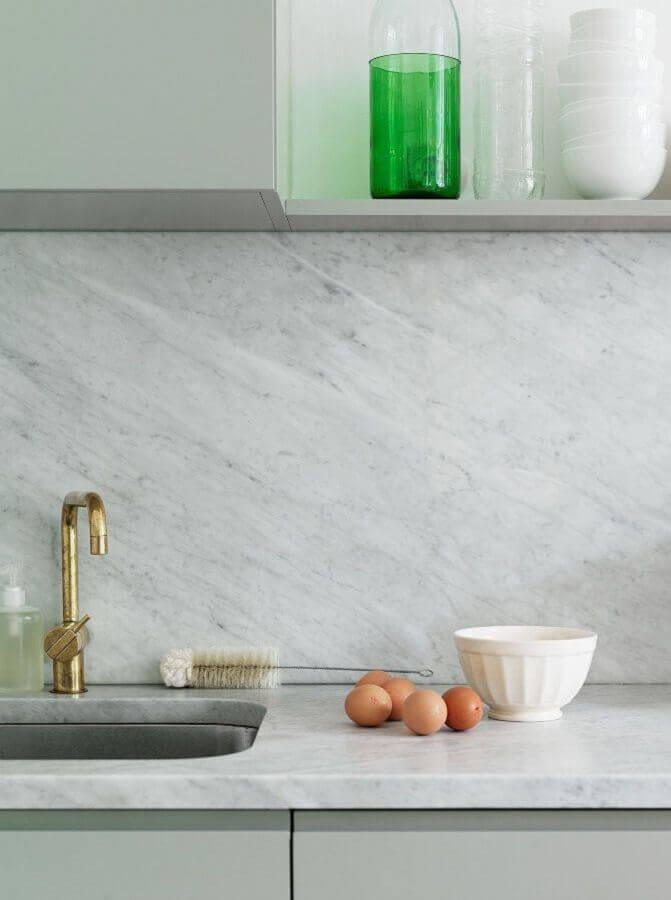 Pedra para bancada de mármore para cozinha decorada cinza