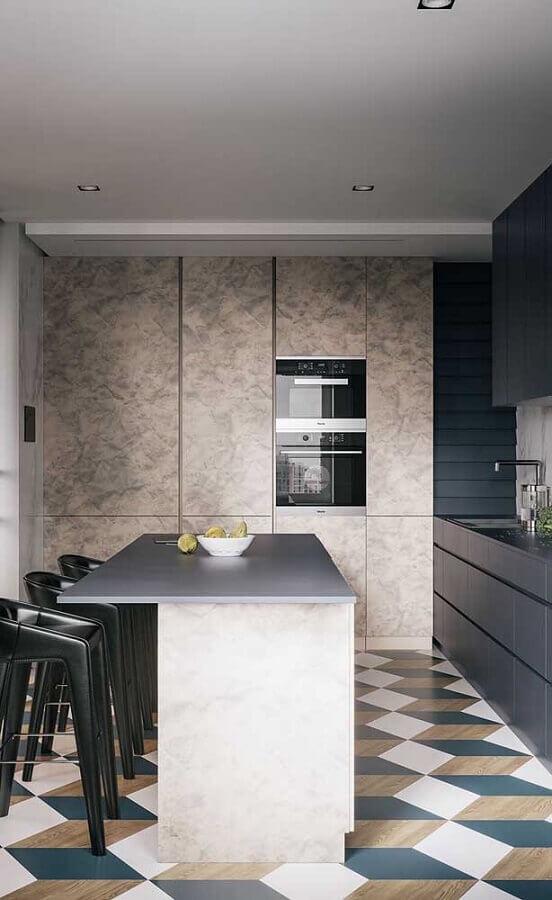 piso geométrico colorido para decoração de cozinha estilo americana com ilha Foto Pinterest