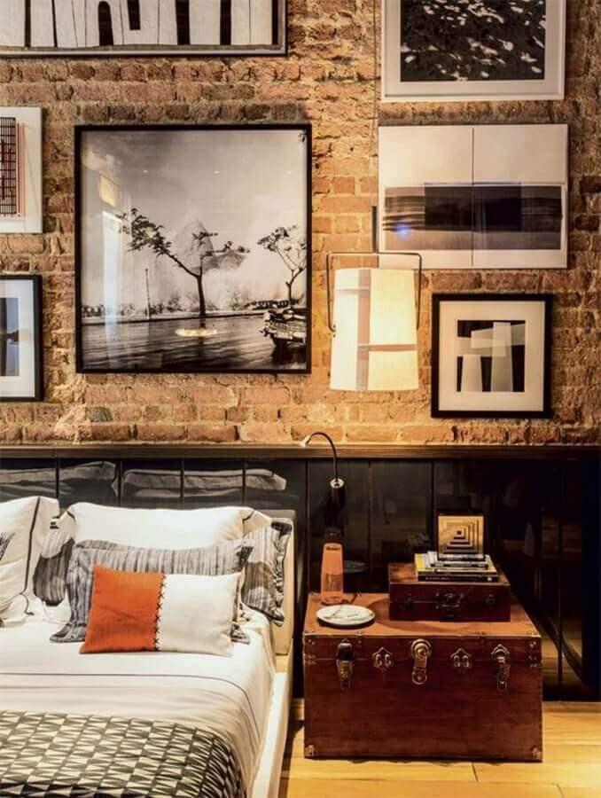 quadros para decoração de quarto estilo industrial com parede tijolinho Foto Pinterest