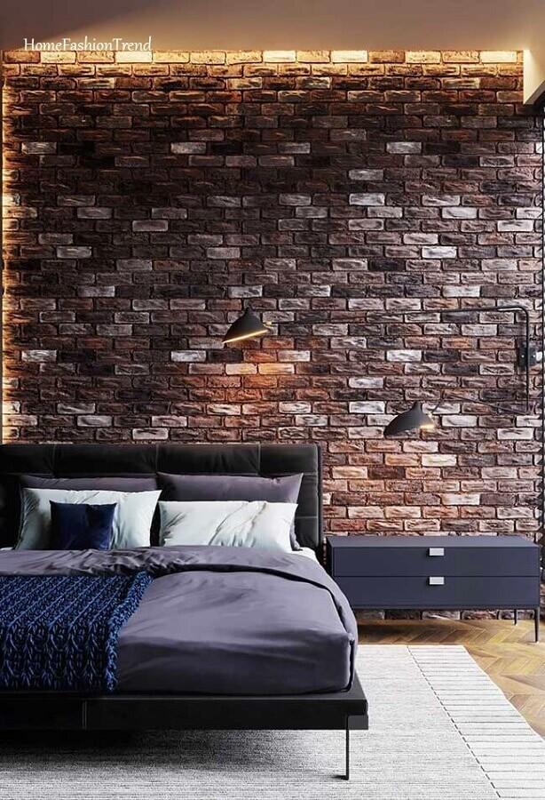 quarto industrial decorado com parede de tijolinho à vista Foto Home Fashion Trend