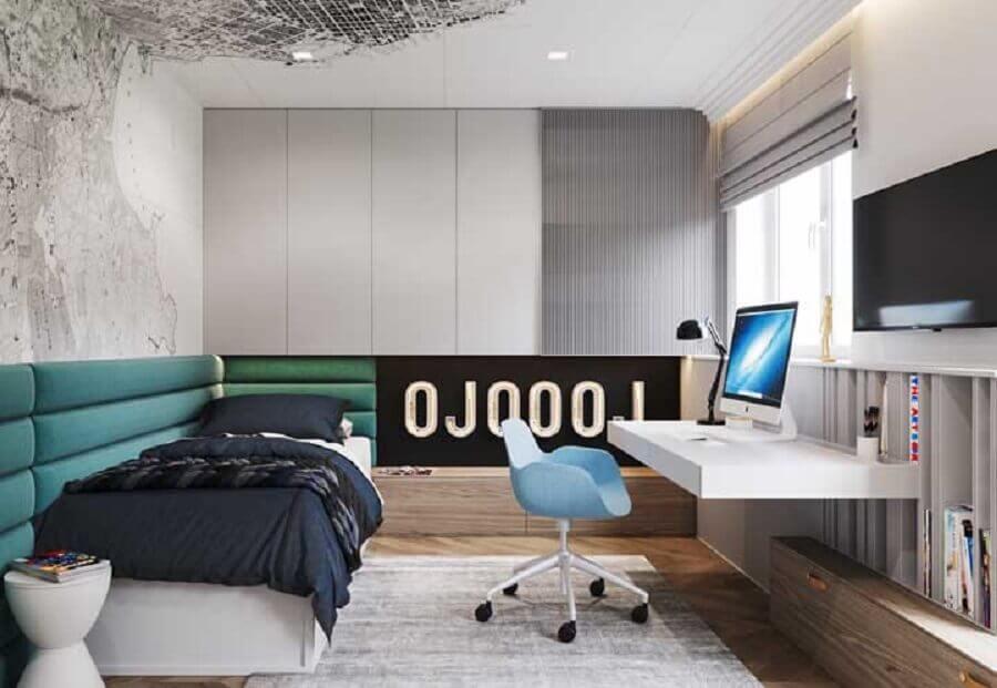 quarto solteiro com escritório com decoração moderna Foto Archidea