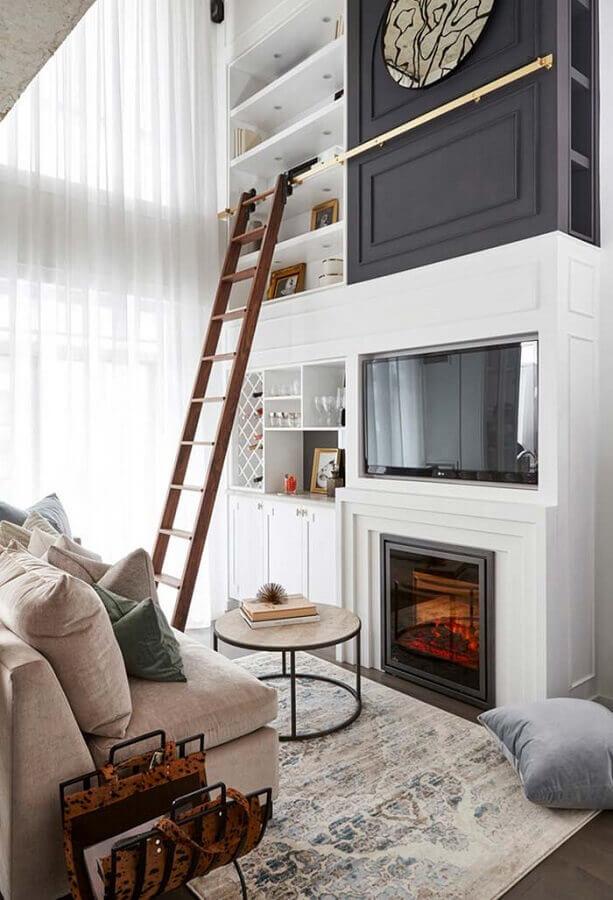 sofá sem braço para decoração de sala de estar com lareira Foto Apartment Therapy